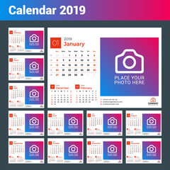 Calendar for 2019 year. Vector design print template with place for photo and company logo. Week starts on Sunday. 12 months