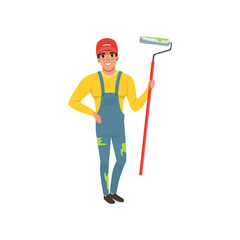 Male painter in uniform with roller paint, house renovation concept vector Illustration on a white background