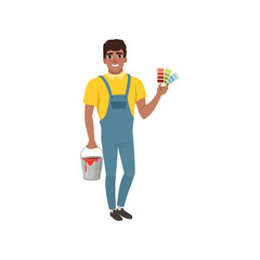 Male painter in uniform standing and holding palette guide and bucket of paint, house renovation concept vector Illustration on a white background