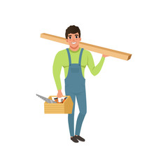 Male professional carpenter in uniform holding wooden plank and tool box vector Illustration on a white background
