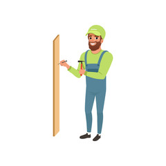 Male professional carpenter hammering a nail in wooden plank vector Illustration on a white background