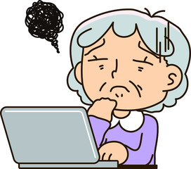 Grandmother using a laptop computer,To be disappointed