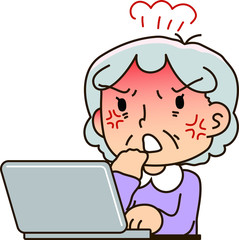 Grandmother using a laptop computer,Get enraged