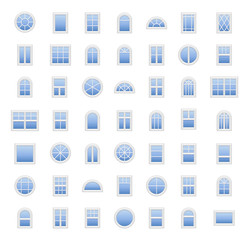Plastic windows. Architecture elements. Flat colored icons. Traditional, french, arch and round window frames. Isolated on white background.