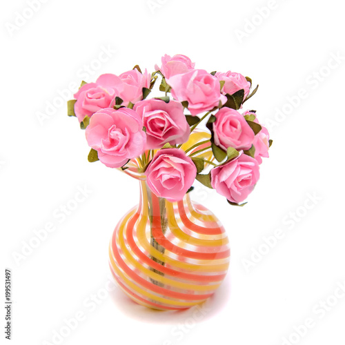 Bouquet Of Small Artificial Pink Roses In A Miniature Glass Vase