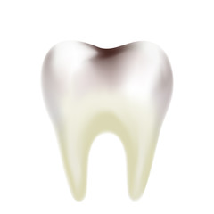 A realistic tooth is affected by carries on white background. Vector illustration. Dental care and hygiene