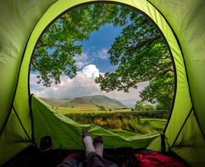 Camping in District Lake in summer near Buttermere