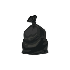 Trash bag vector illustration isolated on white background.