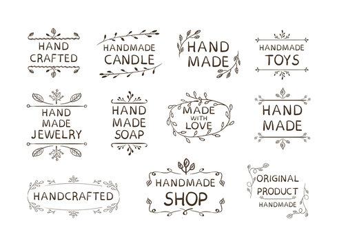 Hand Made Different Labels Set, VECTOR Illustration, Doodle Floral Frames Background.