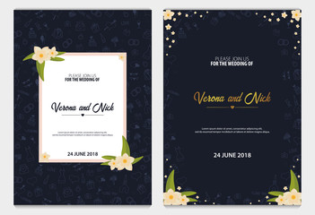 Set of Wedding Invitations tamplate with doodle elements on a background. Save the date cards. Vector illustration