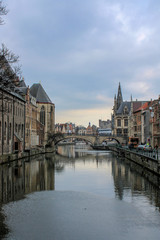 Ghent river with castle in background