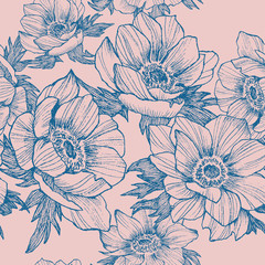 Vector vintage anemone seamless pattern. Hand drawn illustration. Great for wedding invitations, birthday, valentines, save the date and greeting cards. Engraved decor element