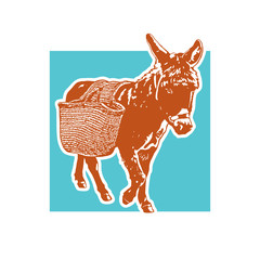 Drawing of donkey with carrying luggage - in front view.  Cute illustration of farm animal with basket on the back. Vector image.