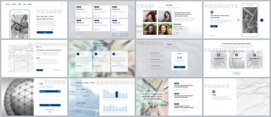 Set of vector templates for website design, minimal presentations, portfolio. Simple elements on white background. Templates for presentation slides, flyer, leaflet, brochure cover, annual report.