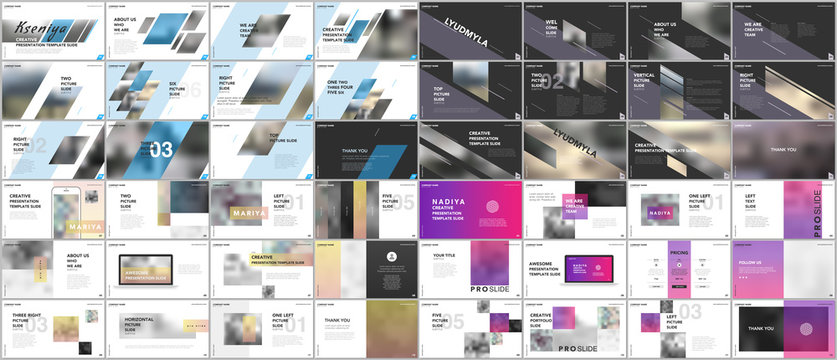 Set of minimal presentations, portfolio templates. Simple elements on white and black background. Brochure cover vector design. Presentation slides for flyer, leaflet, brochure, report, advertising