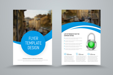 design of a vector brochure with round and semicircular elements and a place for a photo.
