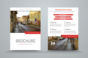 design of the cover and back side of the business brochure with a place for photo and red design elements