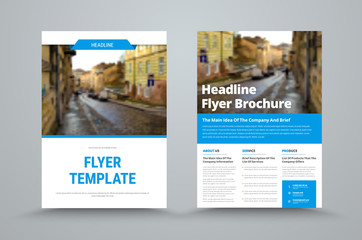 business flyer template with a place for photos and blue design elements.