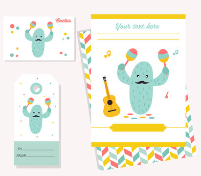 Party invitation template with funny cactus