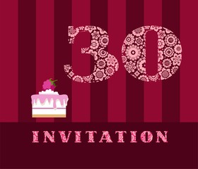 Invitation, 30, raspberry pie, vector, English. The invitation to the birthday party. Wedding anniversary. Color card. Berry cake with raspberries on a striped, dark red field.