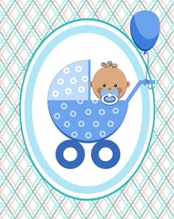 Baby, boy, Africa, postcard, blue lines, rhombuses, vector. A little boy in a blue stroller. A blue ball is tied to the stroller. Color, flat card. Congratulation.
