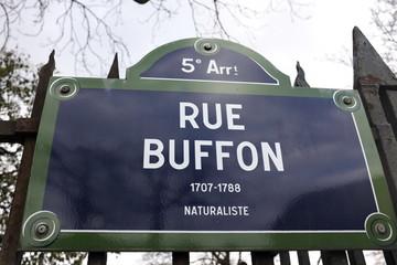 Rue Buffon. 1707-1788. Naturaliste. Plaque de rue. Paris