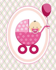 Baby, girl, Asia, postcard, pink lines, rhombuses, vector. A little girl in a pink stroller. A pink balloon is tied to the stroller. Color, flat card.