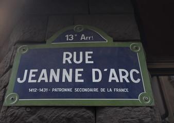 Rue Jeanne d'Arc. Patronne secondaire de la France. 1412-1431
