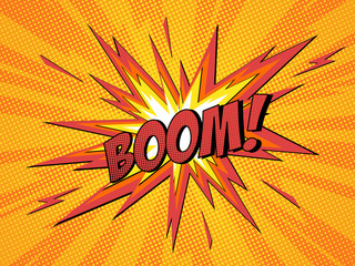 Boom comic speech bubble cartoon lightning blast.