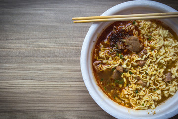 Instant noodles with meat.