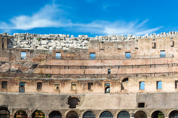 Ancient wall of the Colosseum in Rome Italy.