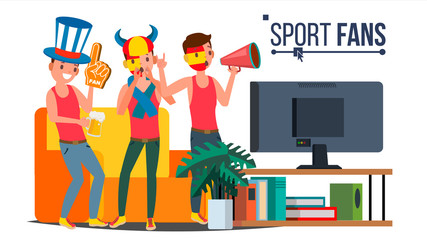 Sport Fans Group Vector. Cheering For The Sport Team. Watching Game Match On TV. Isolated Flat Cartoon Illustration