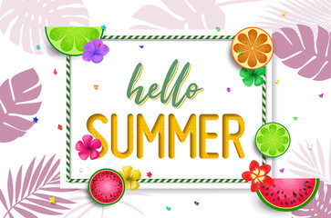 Summer design vector banner with fruits background and exotic palm leaves, hibiscus flowers and Hello Summer handlettering.
