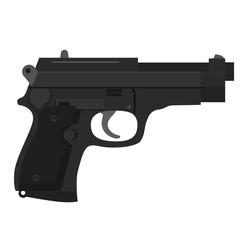 Black handgun illustration on white background