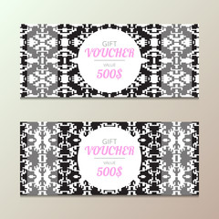Gift voucher with ethnic design. Vector template for coupon tribal style. Fashion concept for promotion card.