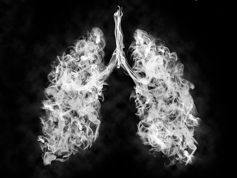 Illustration of a toxic smoke in Lung .