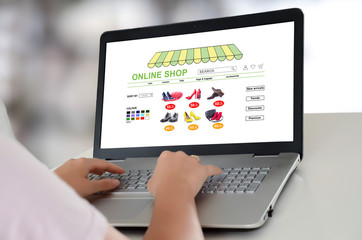Online shop concept on a laptop