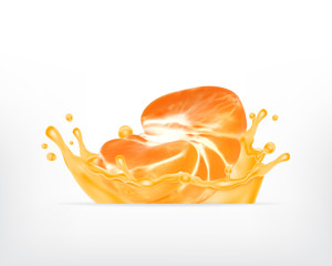 Tangerine fruit in splash