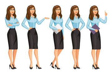 Woman in business style with glasses. Elegant girl in different poses. Consultant or secretary, standing and gesturing. Stock vector, eps 10.