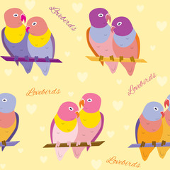 Seamless pattern with lovebirds