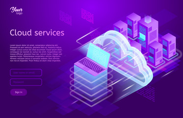 Isometric cloud computing services concept. Vector illustration showing the laptop and web servers. Cloud data storage.. Ultraviolet colors. Abstract tech background