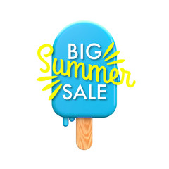 Summertime colorful ice lolly with Big summer sale message