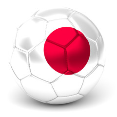 Soccer Ball With Japanese Flag 3D Render