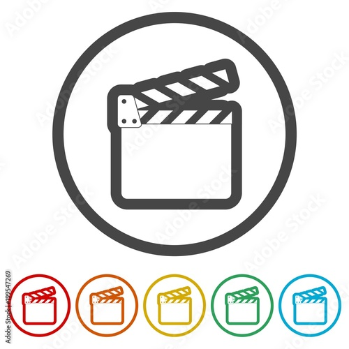 movie clapper film flap 6 colors included stock image and royalty