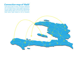 Modern of haiti Map connections network design, Best Internet Concept of haiti map business from concepts series, map point and line composition. Infographic map. Vector Illustration.