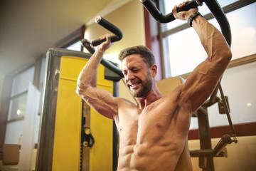 Athlete training hard