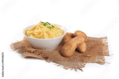 Purée De Pommes De Terre Sur Fond Blanc Stock Photo And