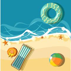 Vacation card with beach and deckchair.