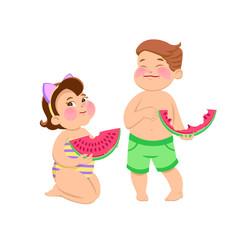 cartoon children eating watermelon on a white background