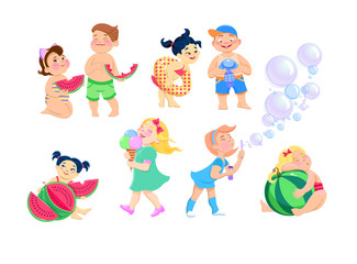 set of clip-art kids cartoon on a white background